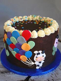 Lactosevrije ballonnen dieren taart