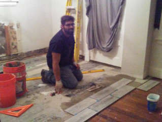 That's me laying tile!