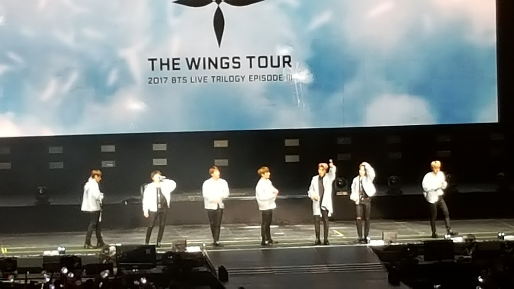 BTS lining up to do their opening introductions at the 2017 WINGS World Tour in Newark
