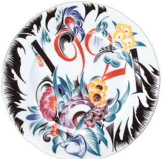 Тарелка с цветочной росписью и датой