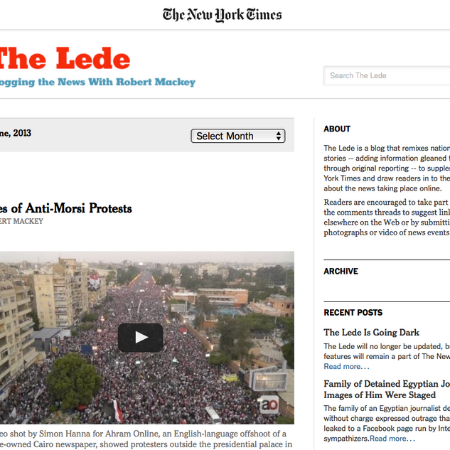 The Lede Blog, The New York Times