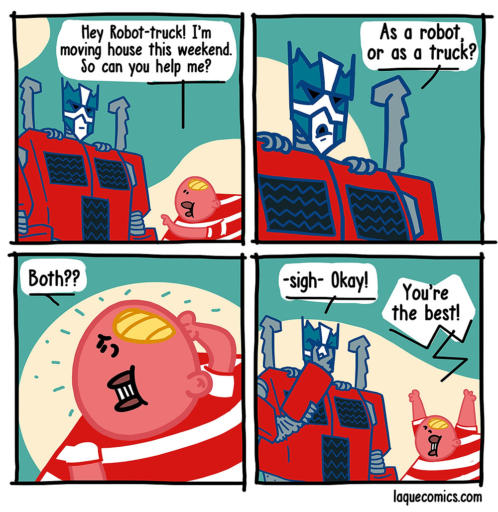 A four-panel comic about the struggles of being a robot-truck.