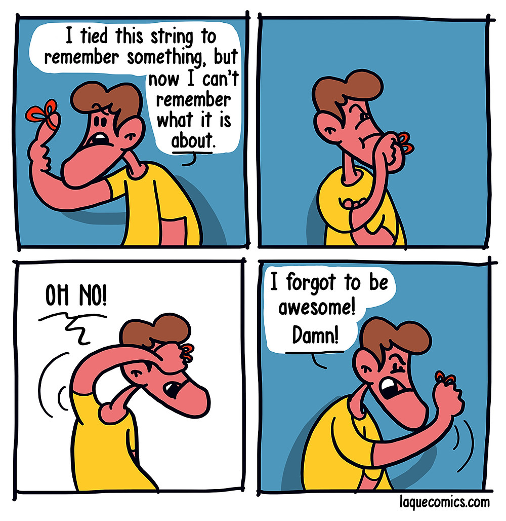 A four-panel comic about a guy who ties a string around his finger to remember something.