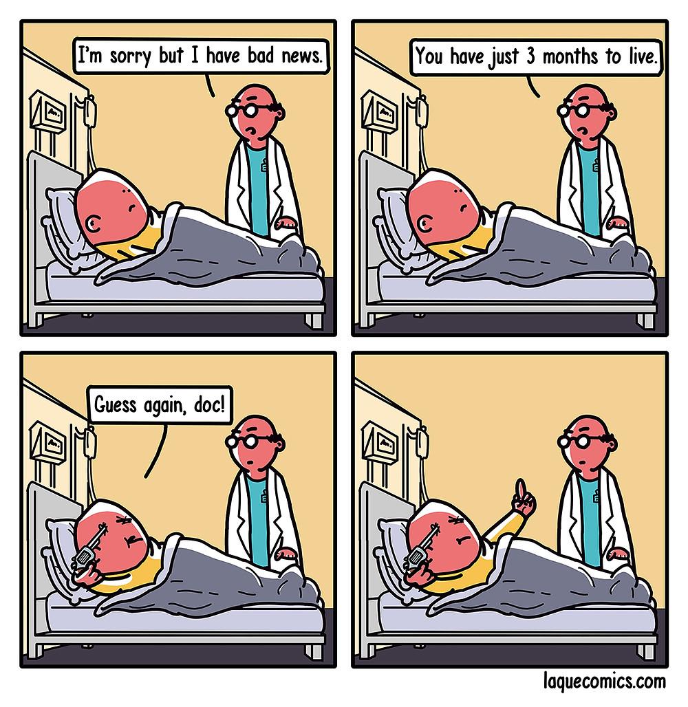 A four-panel comic about a doctor's assumptions about a patient's left lifetime.
