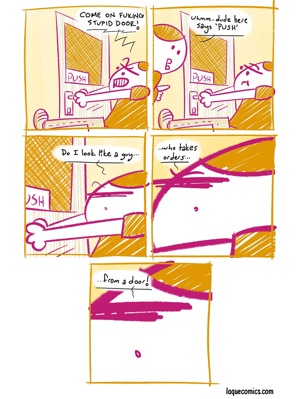 A five-panel comic about a tough guy.