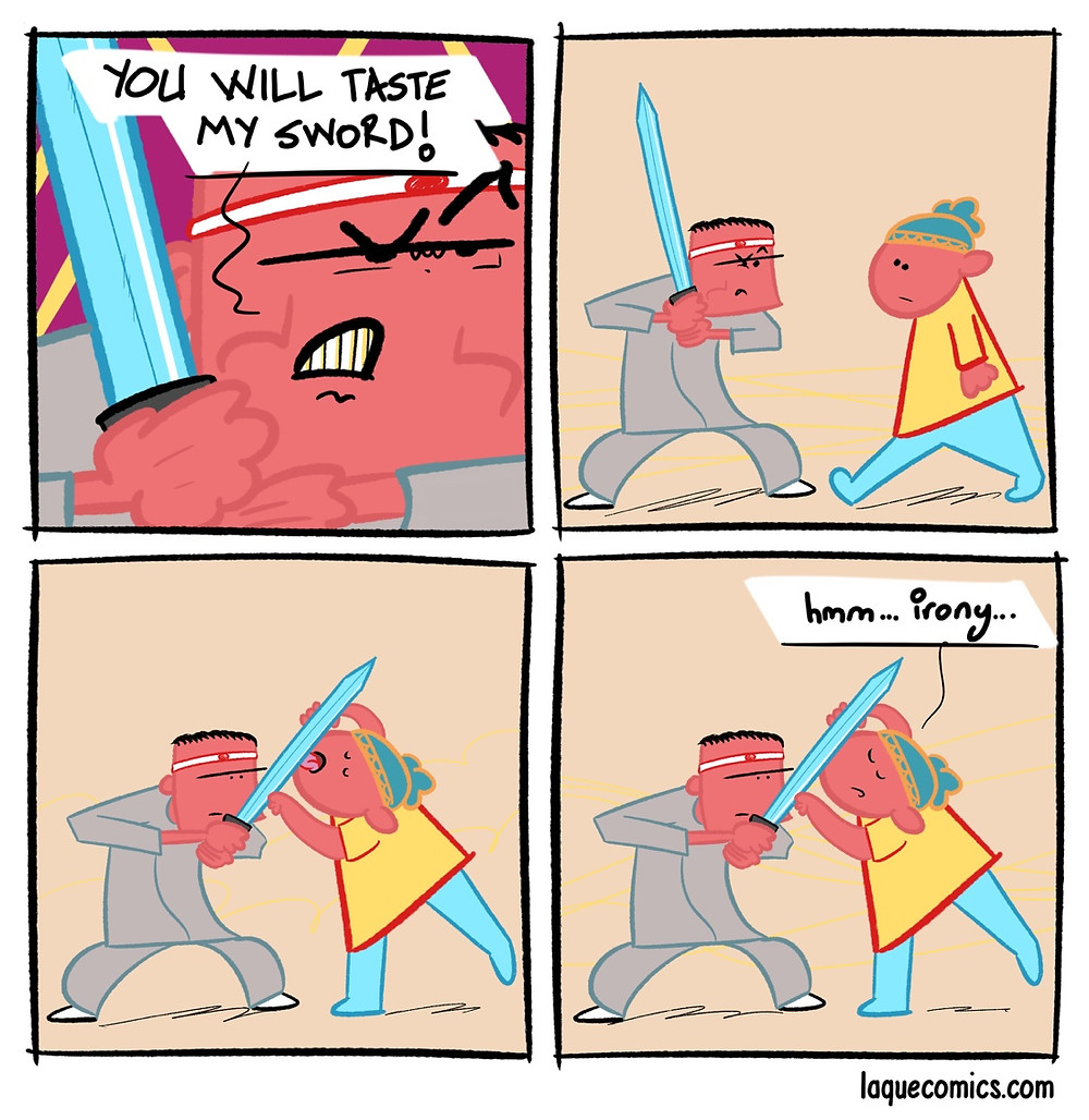 A four-panel comic about the taste of a sword.