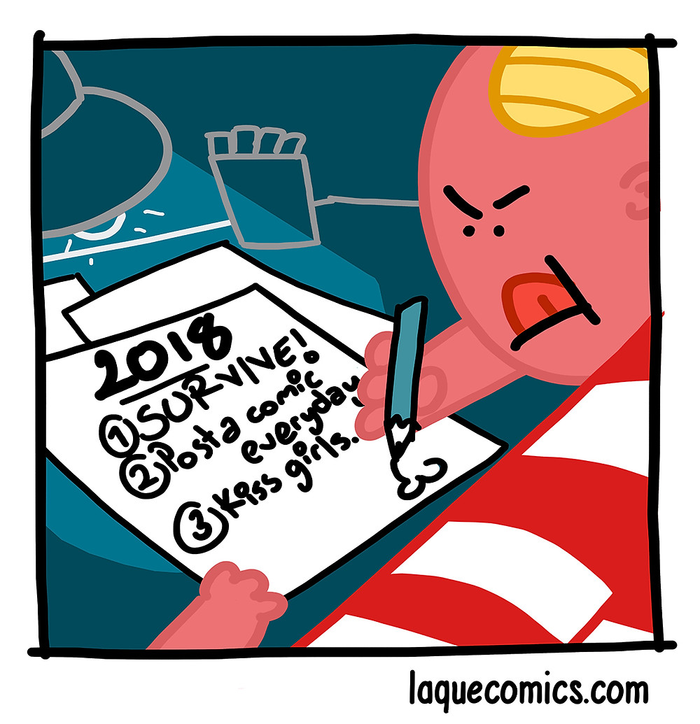 A comic about my new year resolutions.