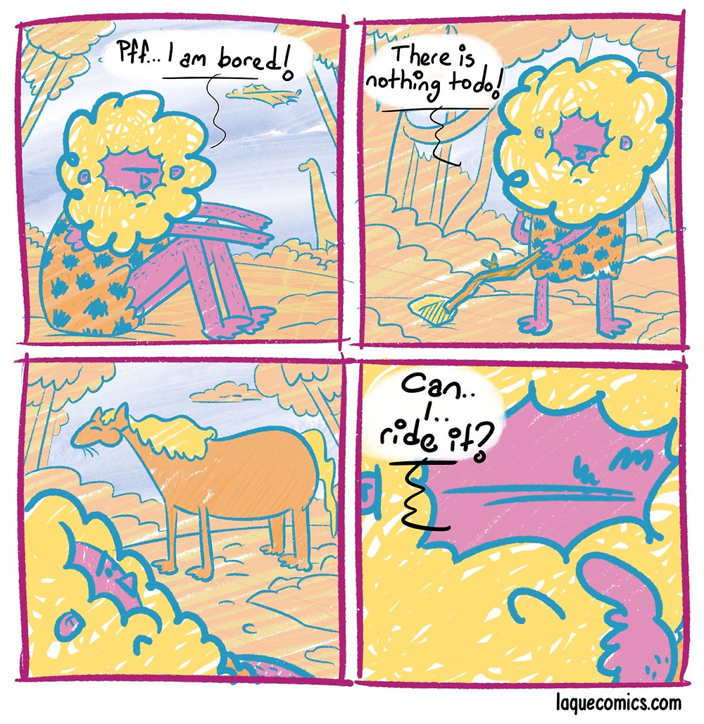 A four-panel comic about the first man who thought ride a horse.