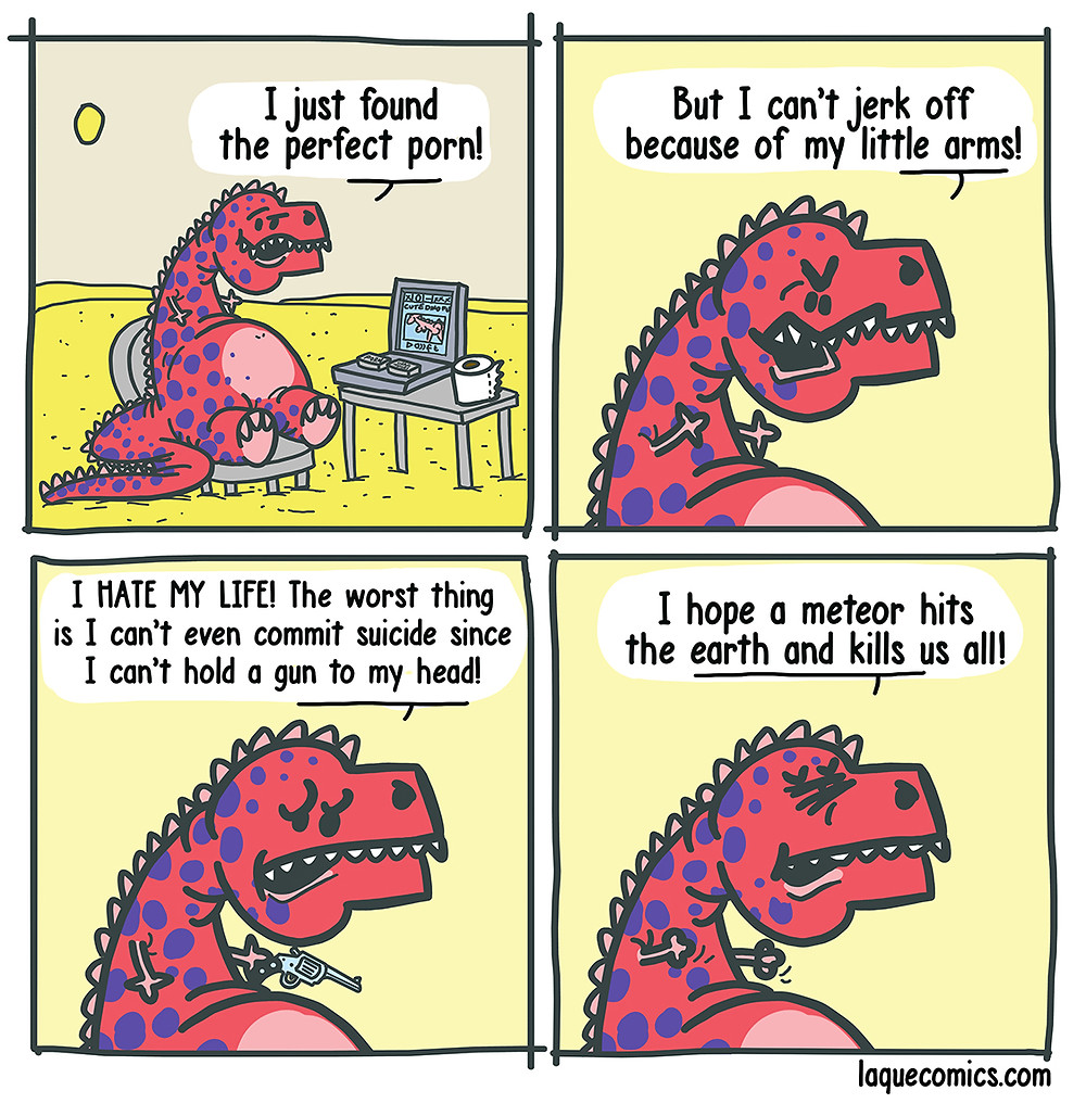 A four-panel comic about a dinasour who has some problems about his small arms.