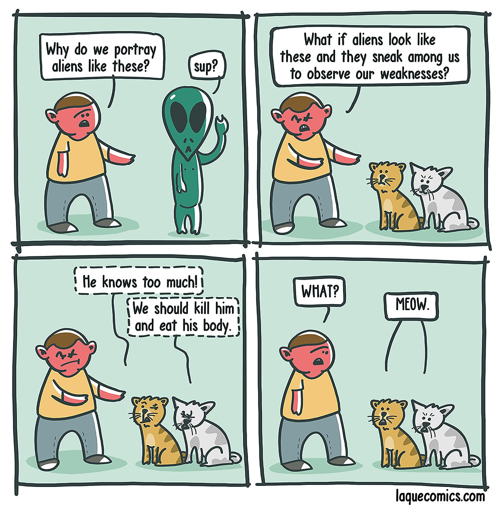 A four-panel comic about a guy's thoughts on the anatomy of the aliens.