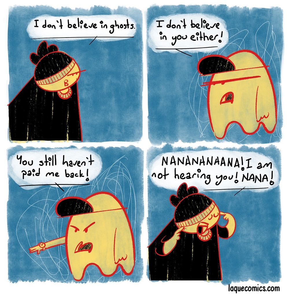 A four-panel comic about ghosts and money issues.