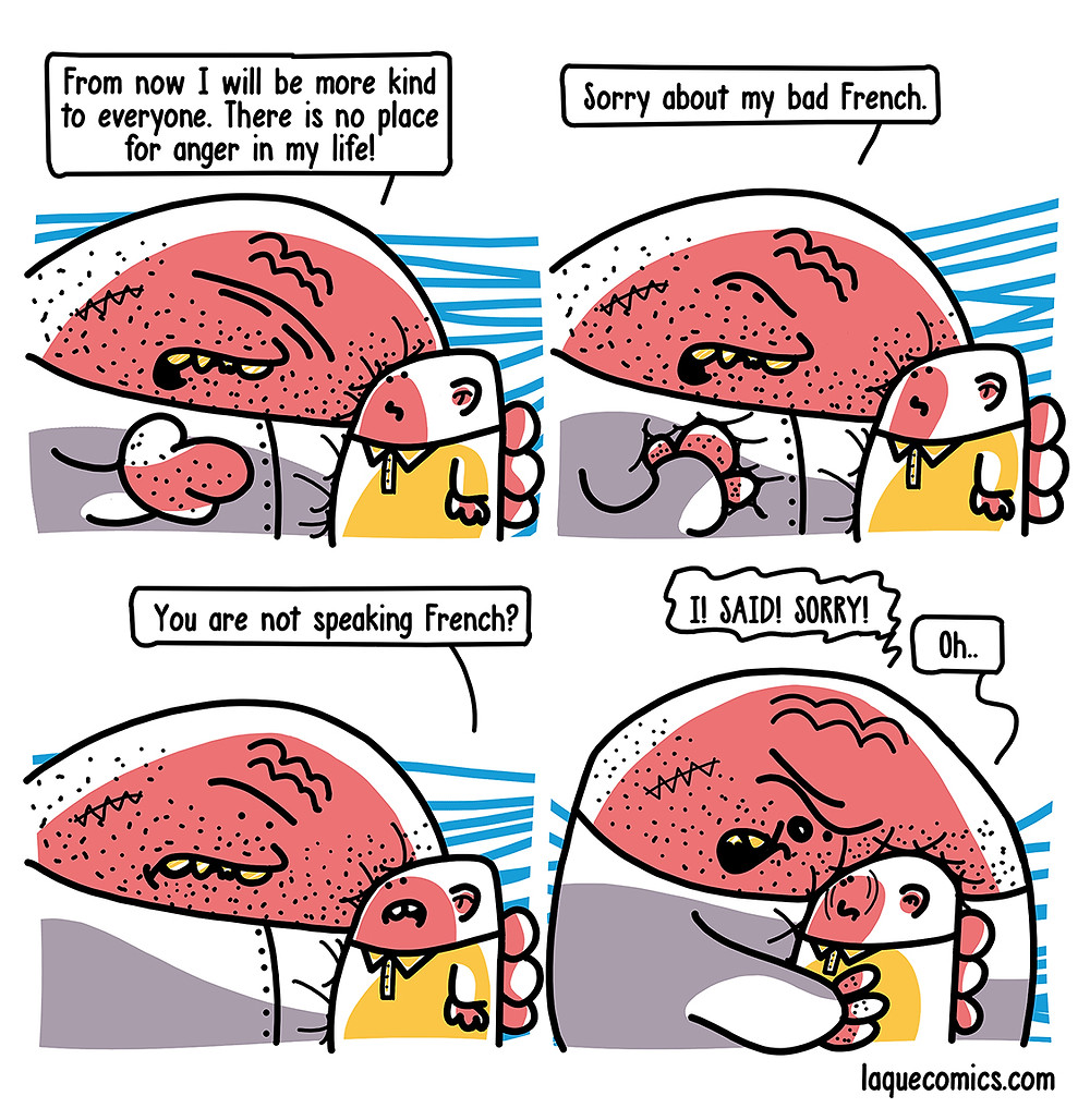 A funny four-panel comic about a huge angry guy and his small innocent friend.