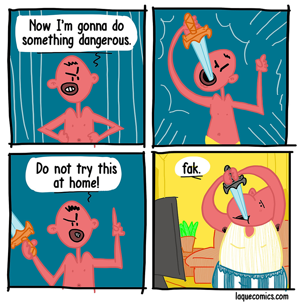 A four-panel comic about making dangerous moves.