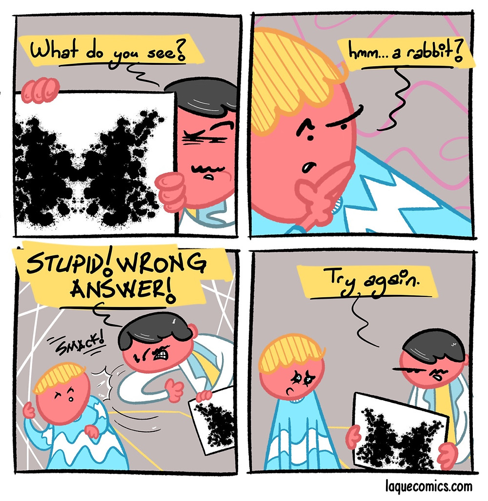 A four-panel comic about a rorschach test.