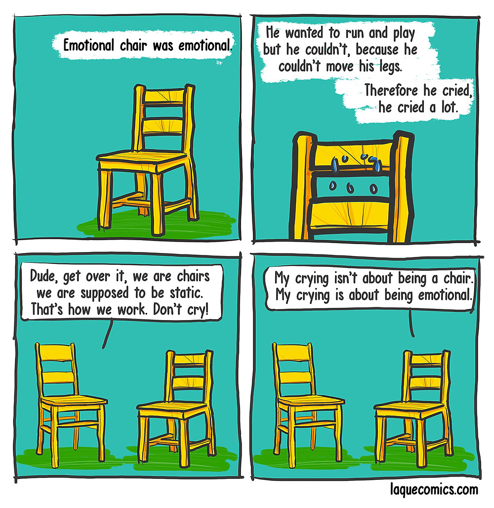 A four-panel comic about an emotional chair.