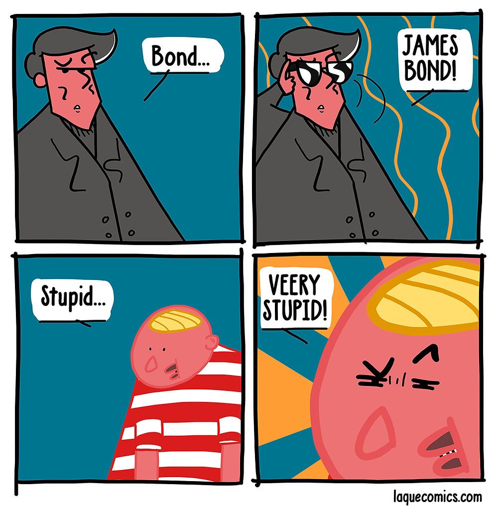 A four-panel comic about James Bond.