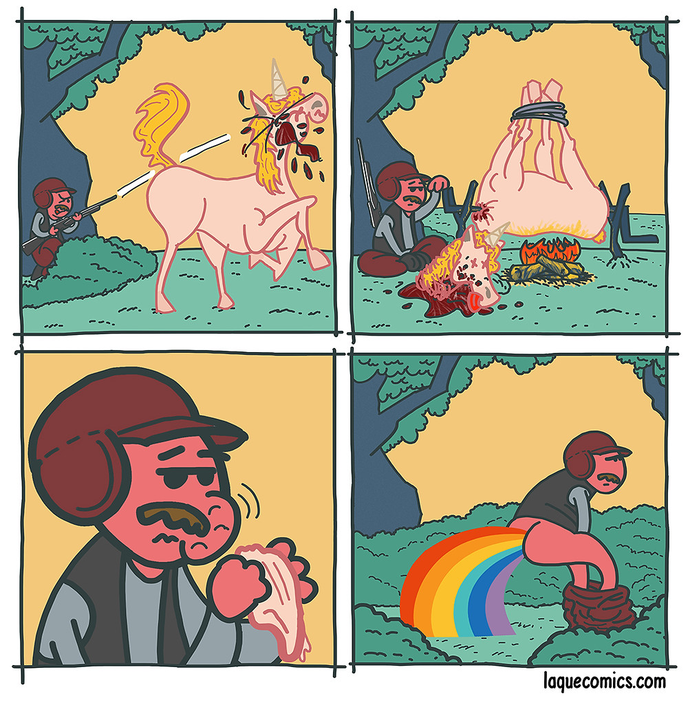 A four-panel comic about a hunter's hunting an unicorn.
