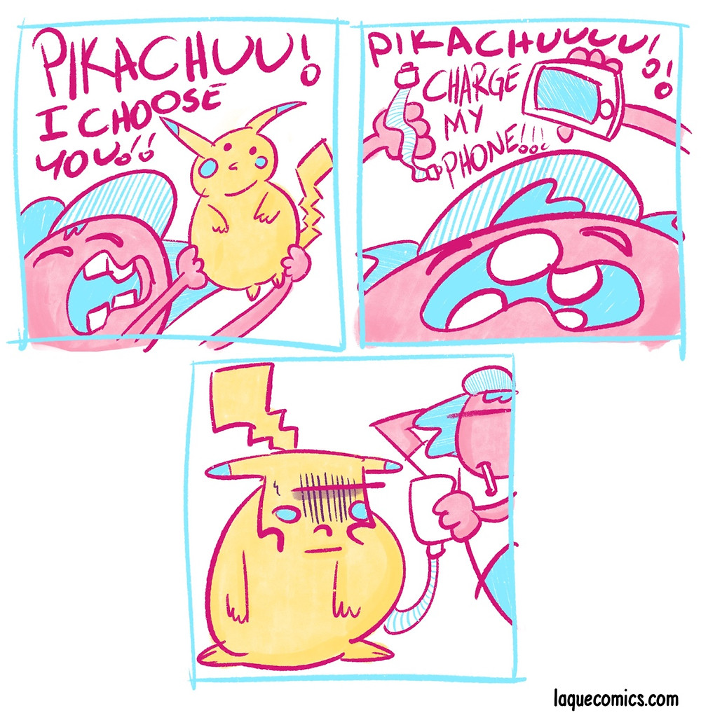 A three-panel comic about a pikachu and his master.