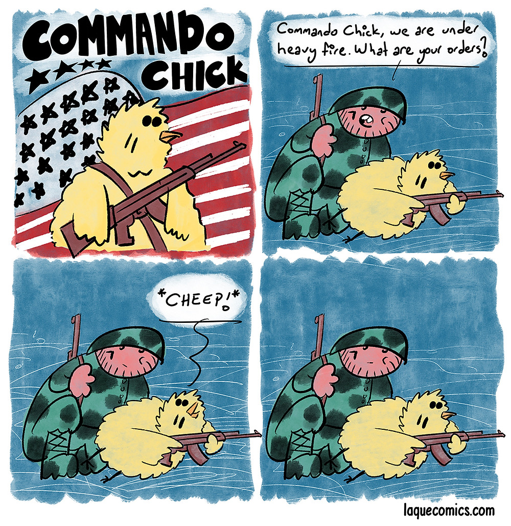 A four-panel comic about the commando chick!