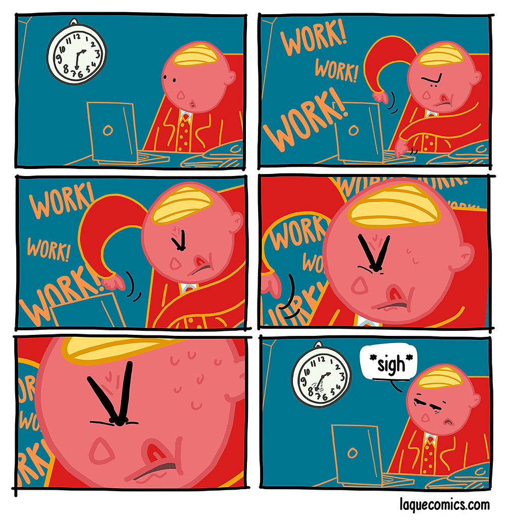 A six-panel comic about the time dilation in the workplace.