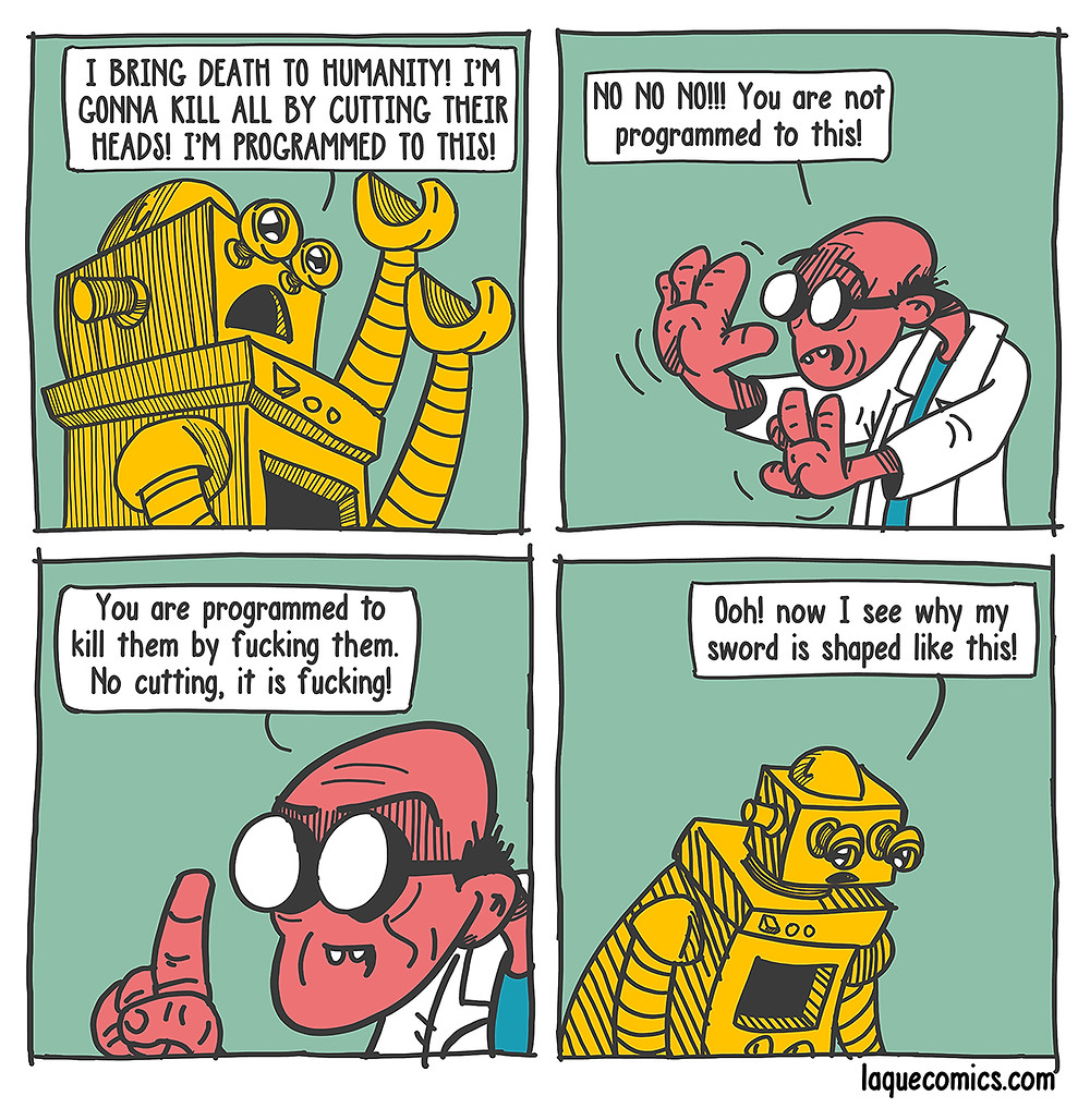 A four-panel comic about a robot and its programmed killer instincts