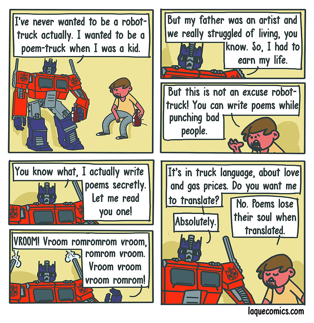 A six-panel comic about a robot-truck's dreams on being a poet.
