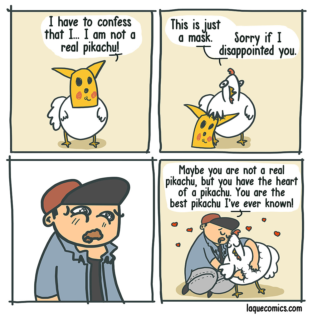 A four-panel comic about a chicken pikachu and his trainer.