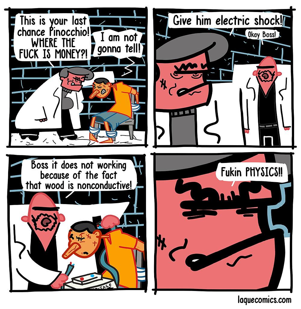A four-panel comic about the pinocchio vs the mafia.
