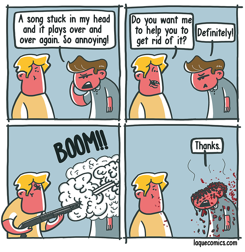 A four-panel comic about a guy's help to save his friend from his earworm.