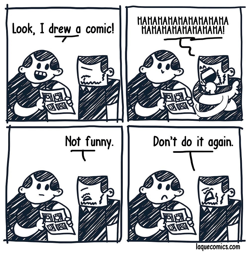 A four-panel comic about a making a comic and getting reviews.