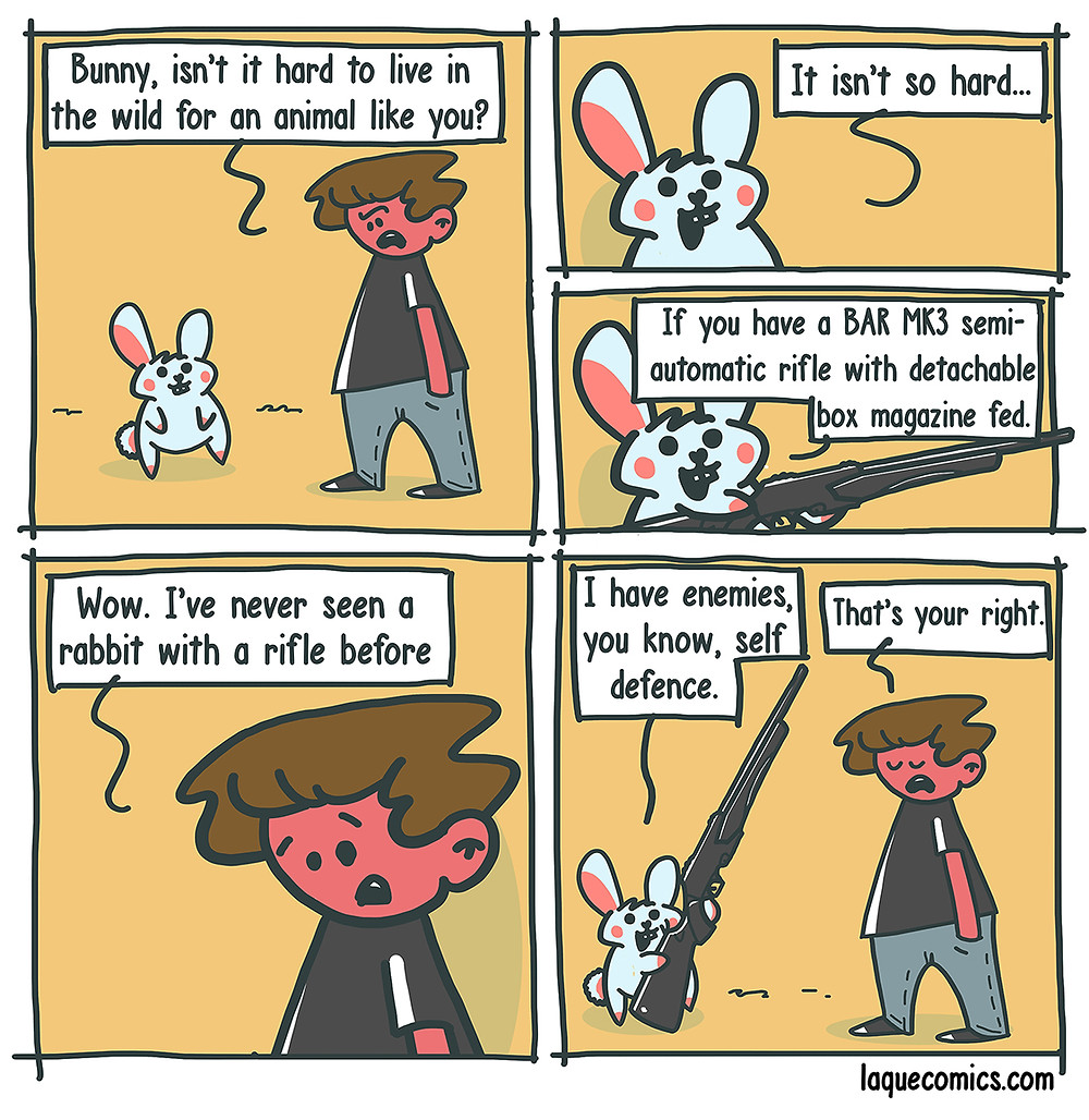 A five-panel comic about a bunny's way to deal with the struggles of life in the wild.