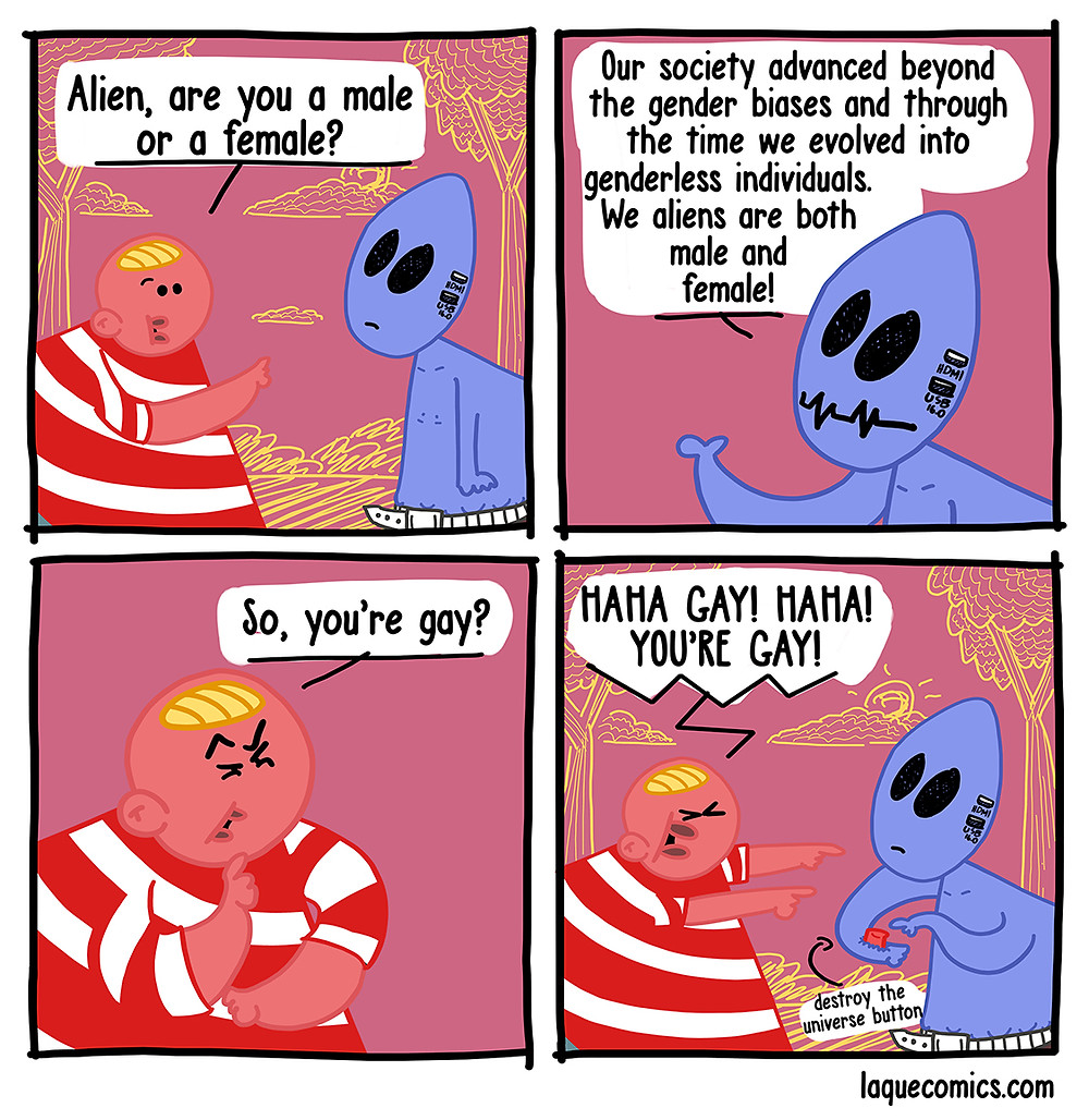 A four-panel comic about a guy questining the gender of an alien.
