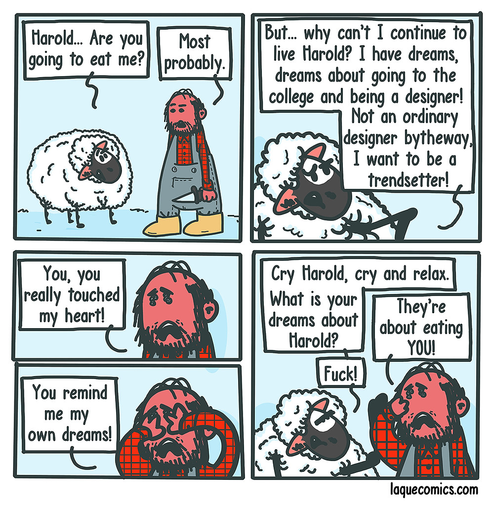 A five-panel comic about a butcher's and a sheep's dreams
