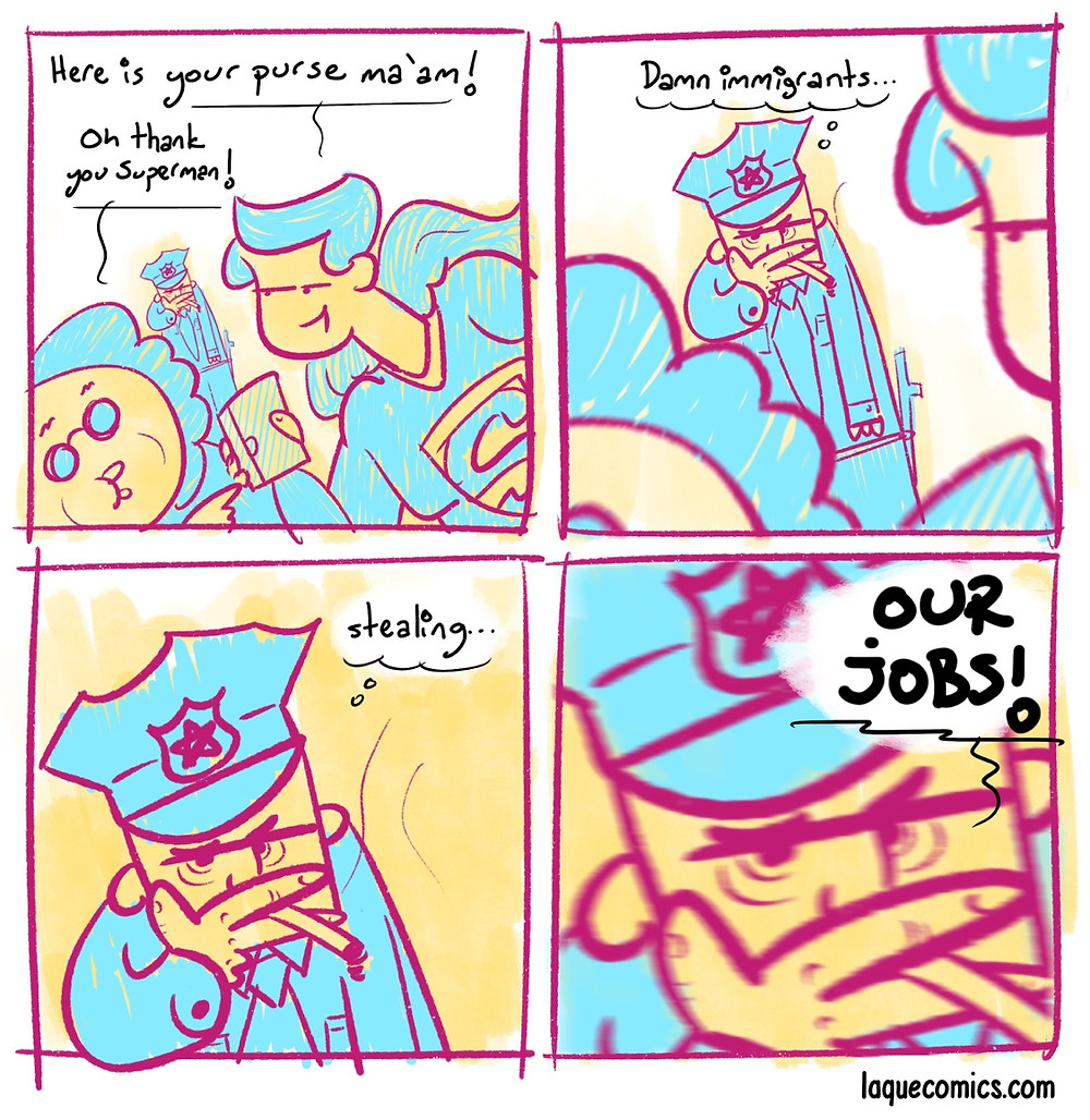 A four-panel comic about the immigrant problem.