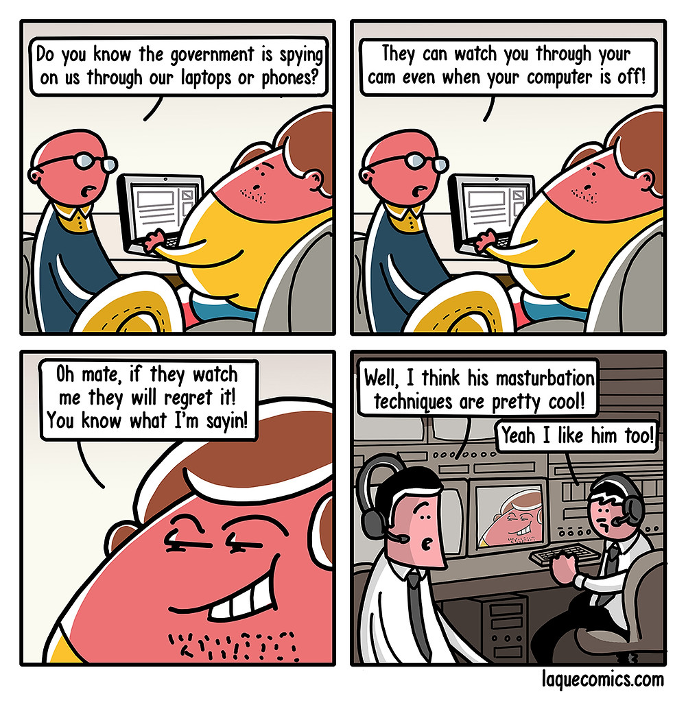 A four-panel comic about a guy's suspicion of that the government is spying on us.