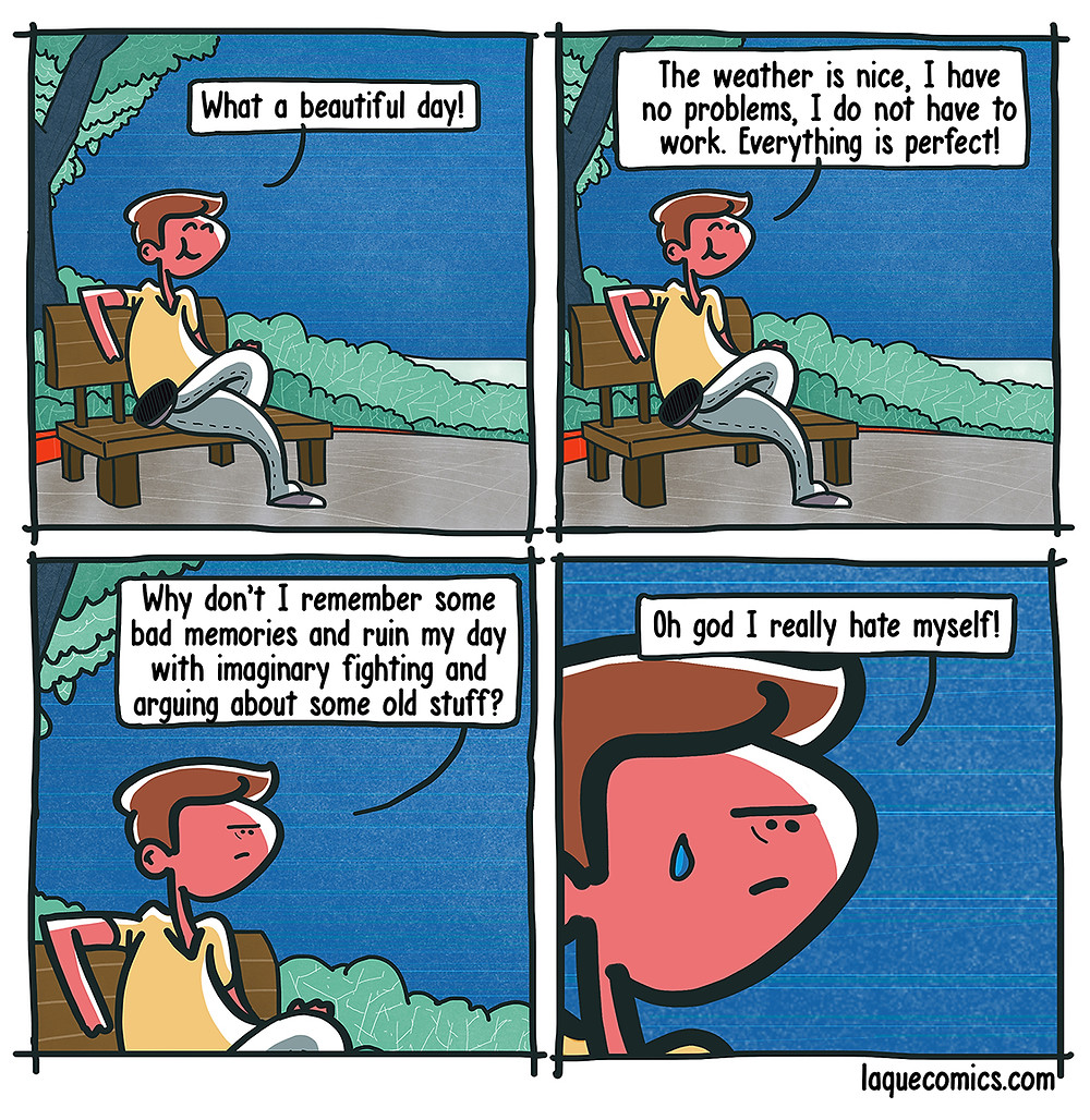 A four-panel comic about a man and his way to ruin a perfect day.