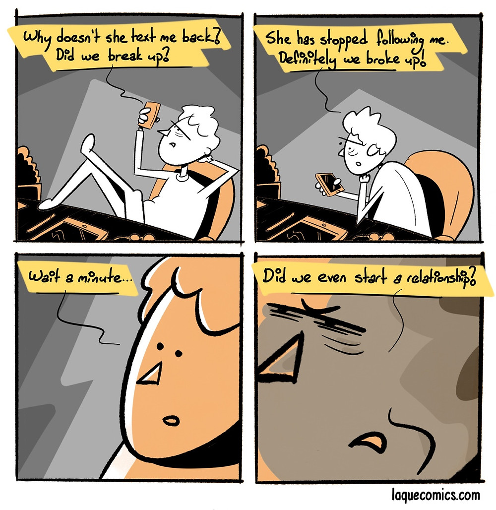 A four-panel comic about a man trying to figure out how relationship things work.