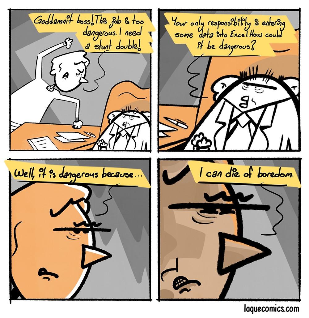 A four-panel comic about a dangerous job.