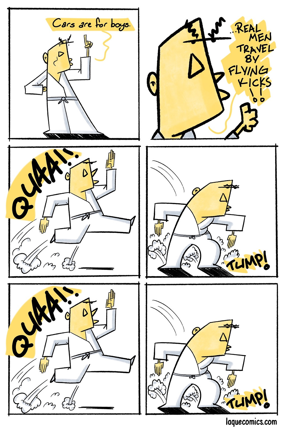 A six-panel comic about how the real men travel.