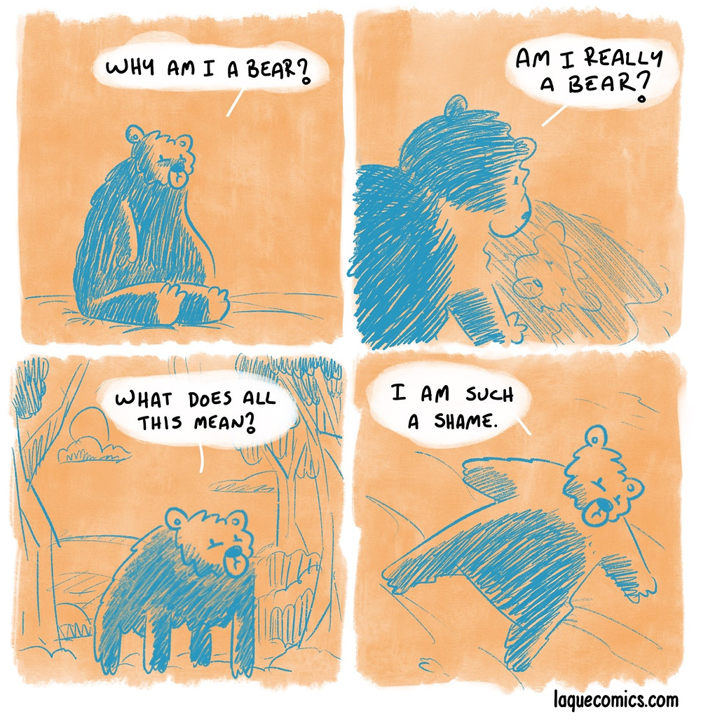 A four—panel comic about a depressed bear.