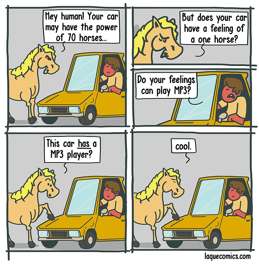 A five-panel comic about a horse's feelings and envy on a car's features.