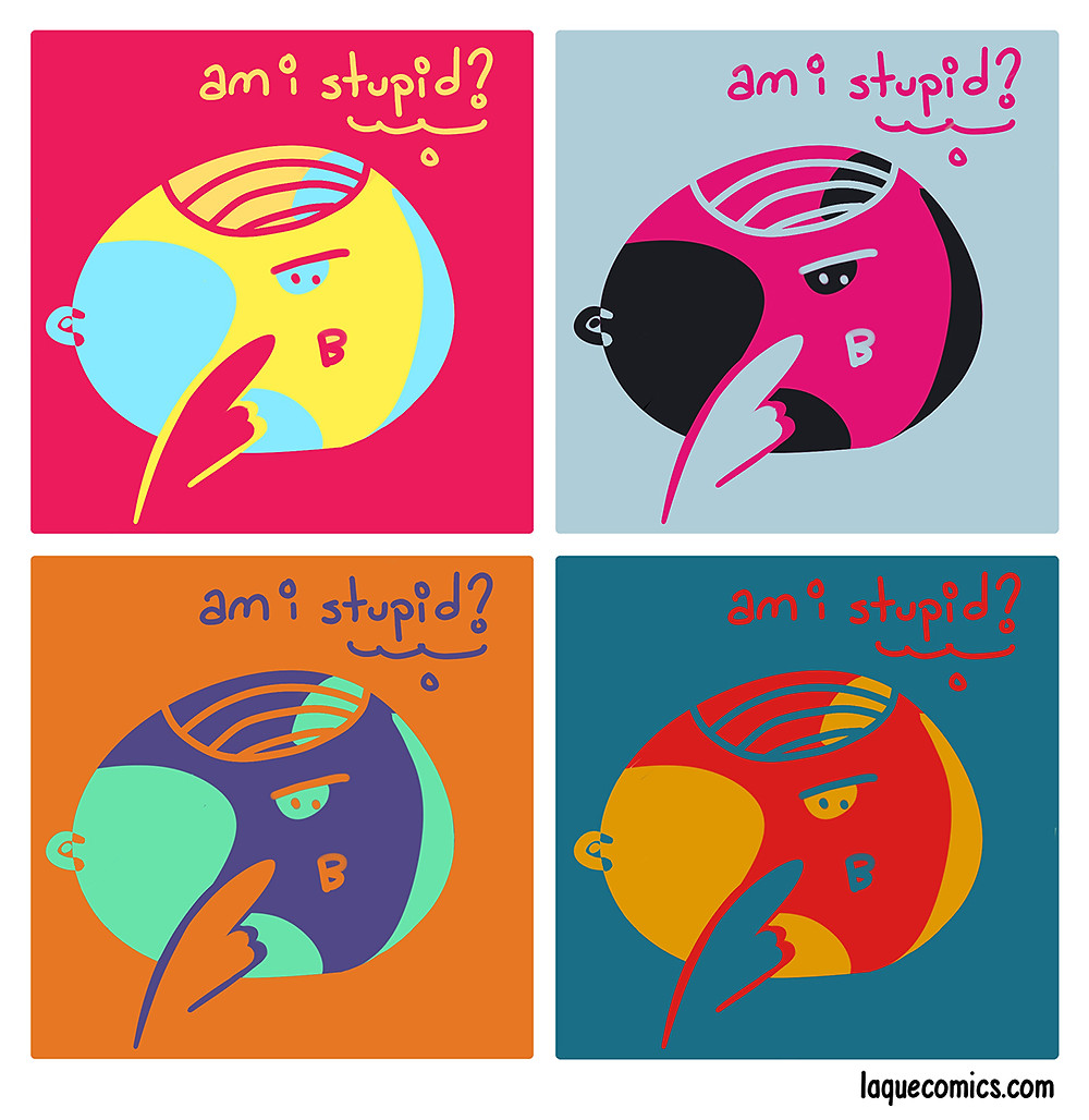 A four-panel comic about a person who is questioning himself.