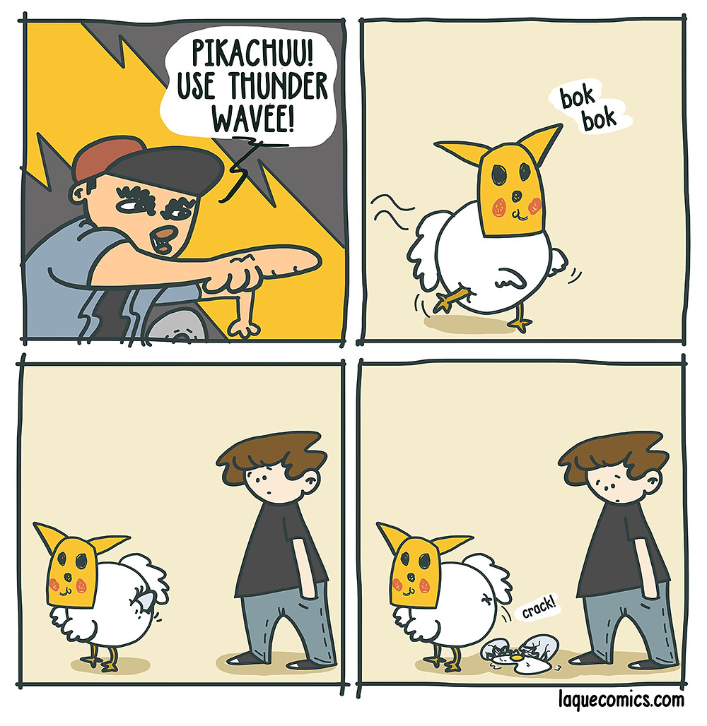 A four-panel comic about a chicken pikachu and his thunder wave attack.