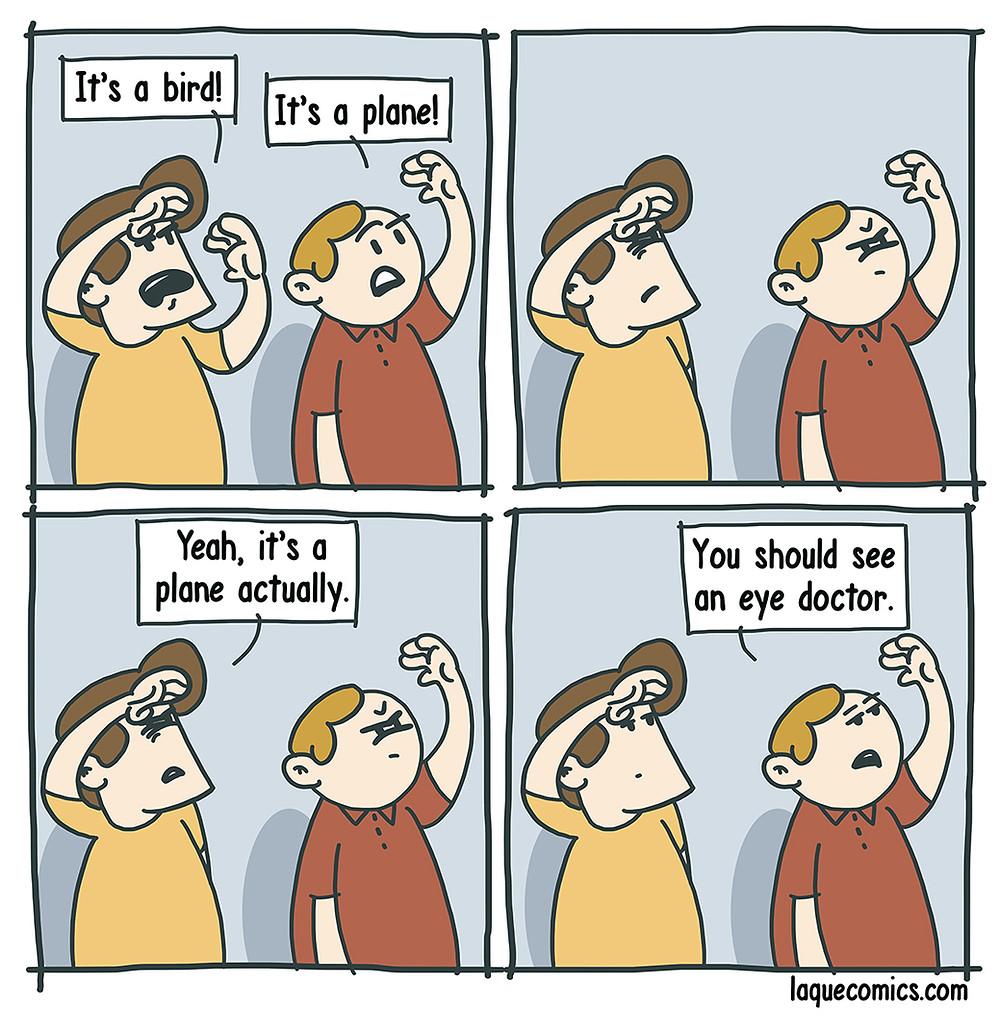 "A four-panel comic about the famous qoute ""it's a bird, it's a plane""."
