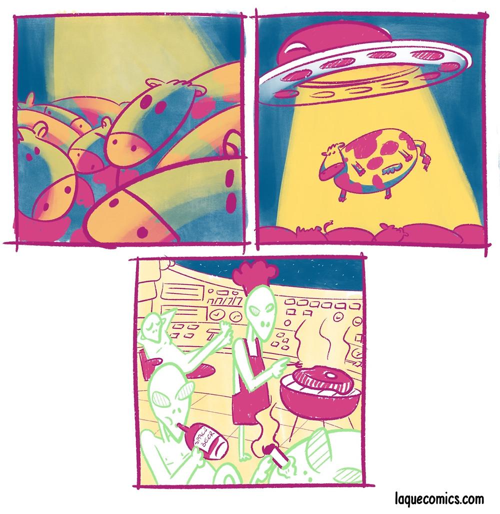 A three-panel comic about some ufo stuff.