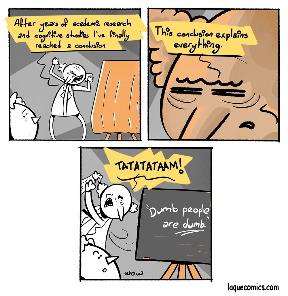 A three-panel comic about an academic investigation.