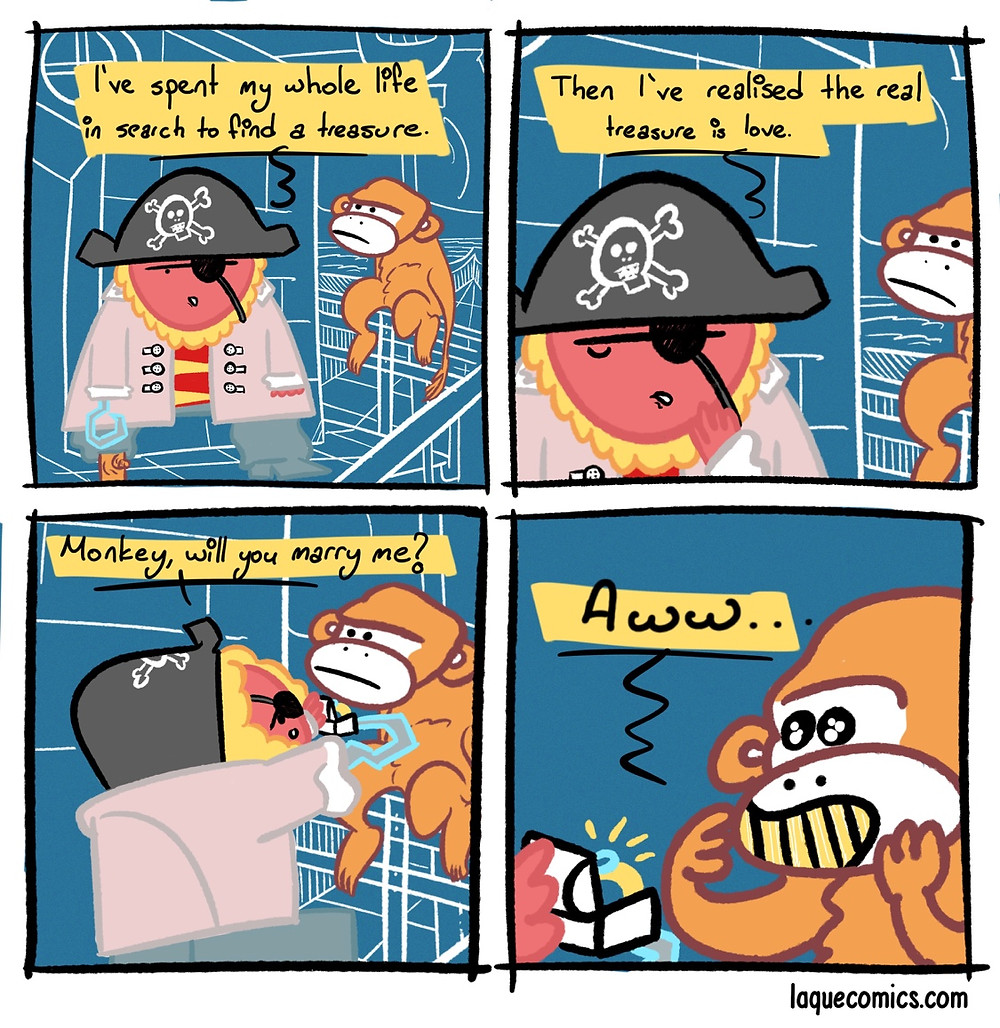 A four-panel comic about a romantic pirate.