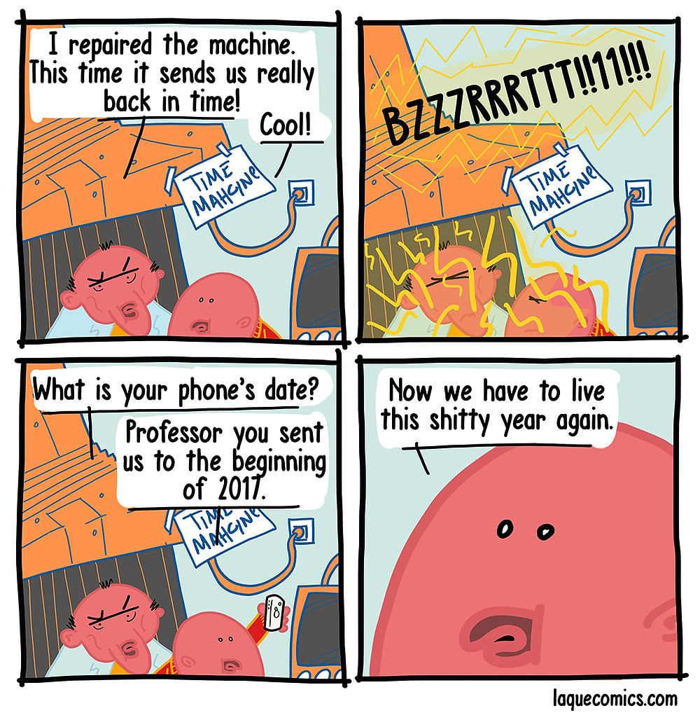 Second part of the four-panel comic about the time machine.