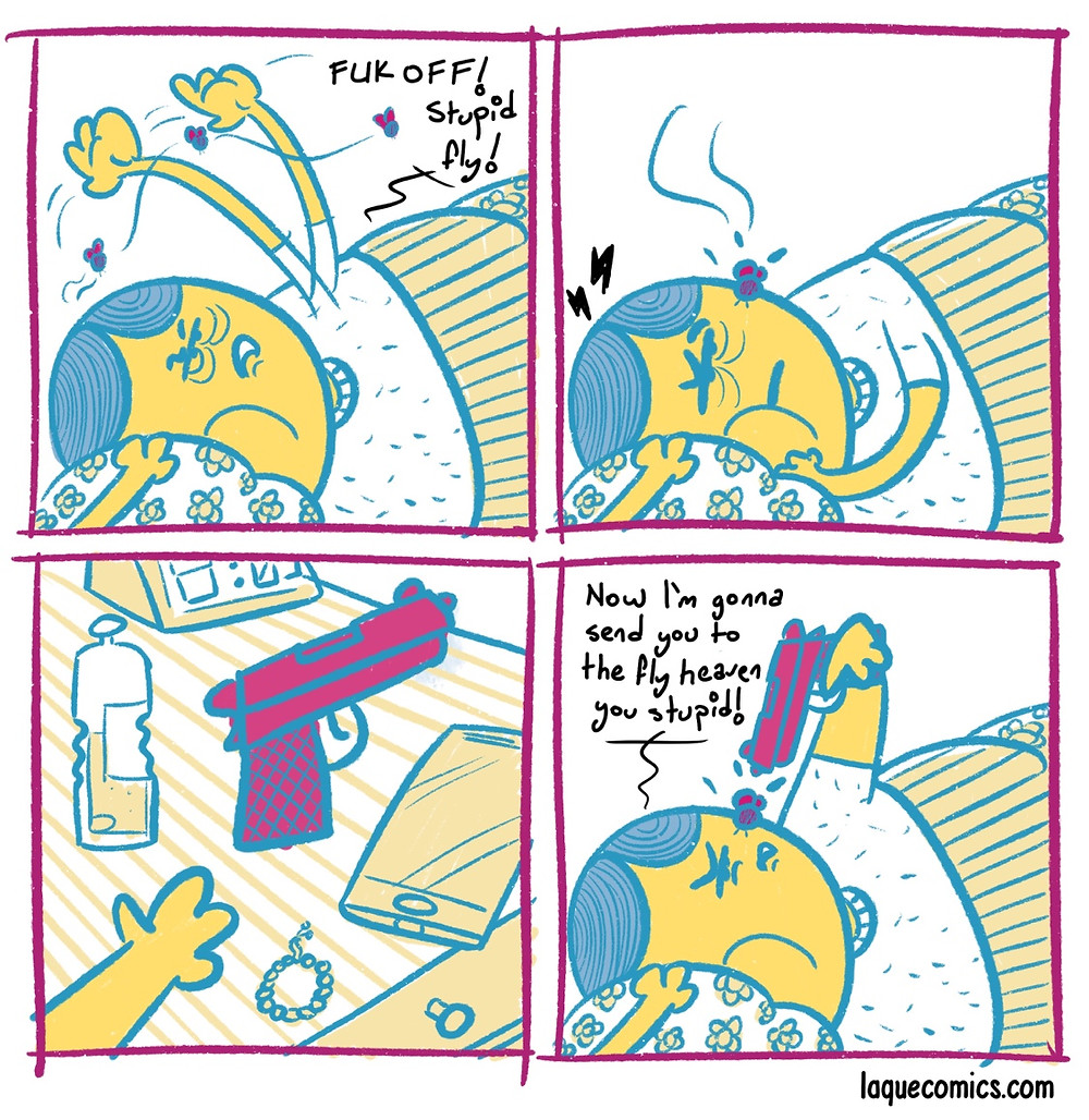 A four-panel comic about a fly and a person trying to sleep.
