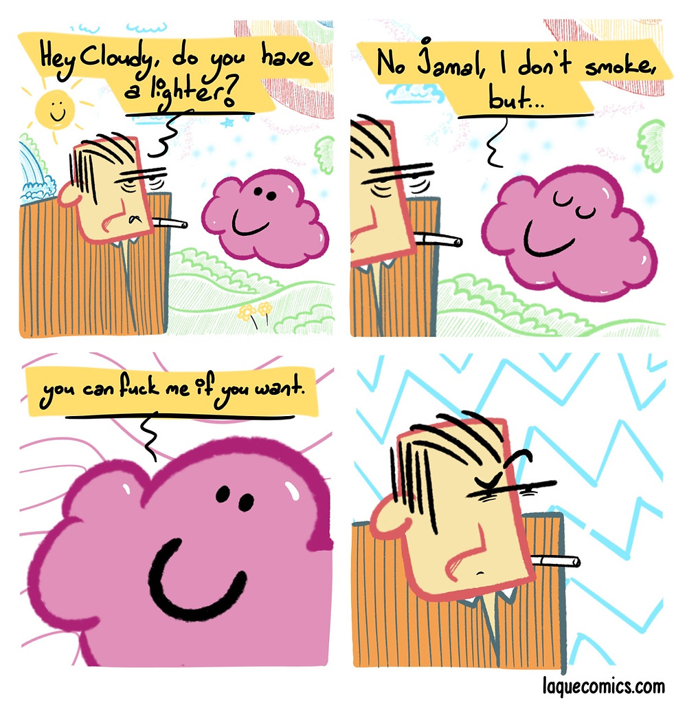 A four-panel comic about Jamal and Cloudy in the fairyland.